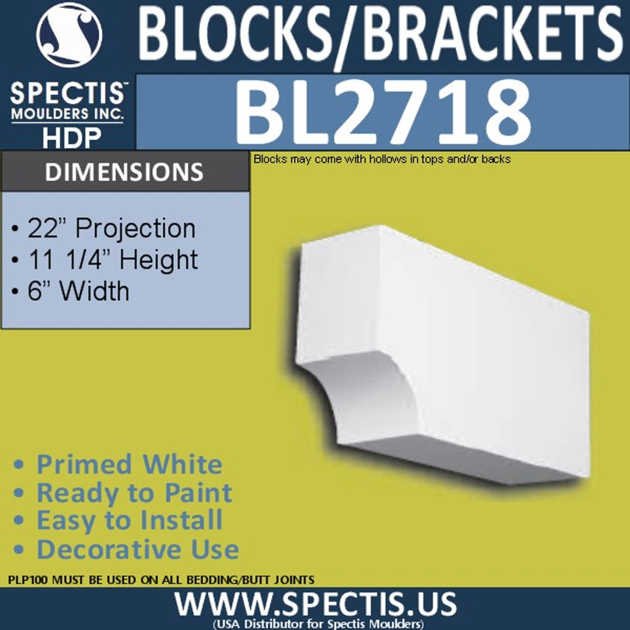 "BL2718 Eave Block or Bracket 6""W x 11.25""H x 22"" P"