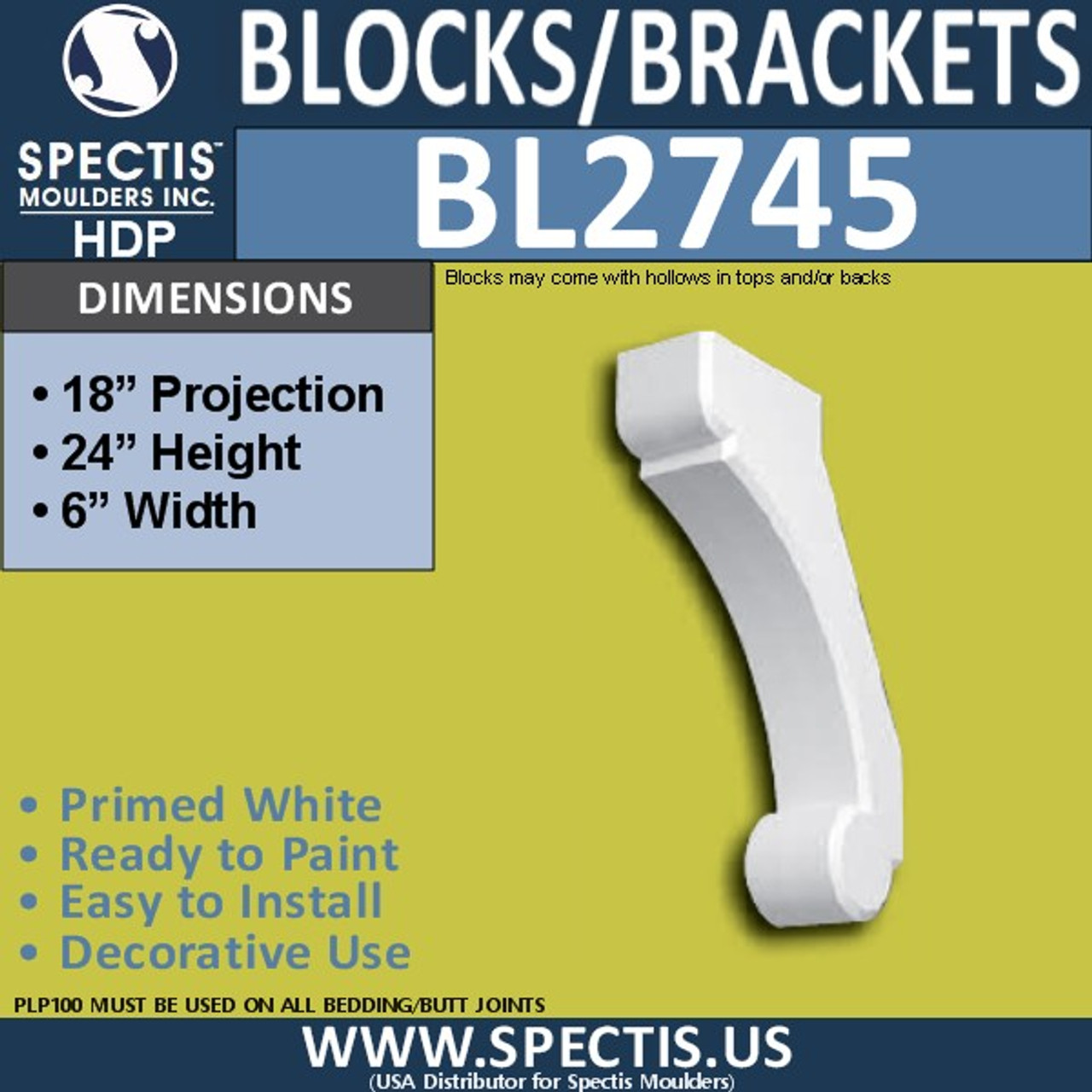 "BL2745 Eave Block or Bracket 6""W x 24""H x 18"" P"