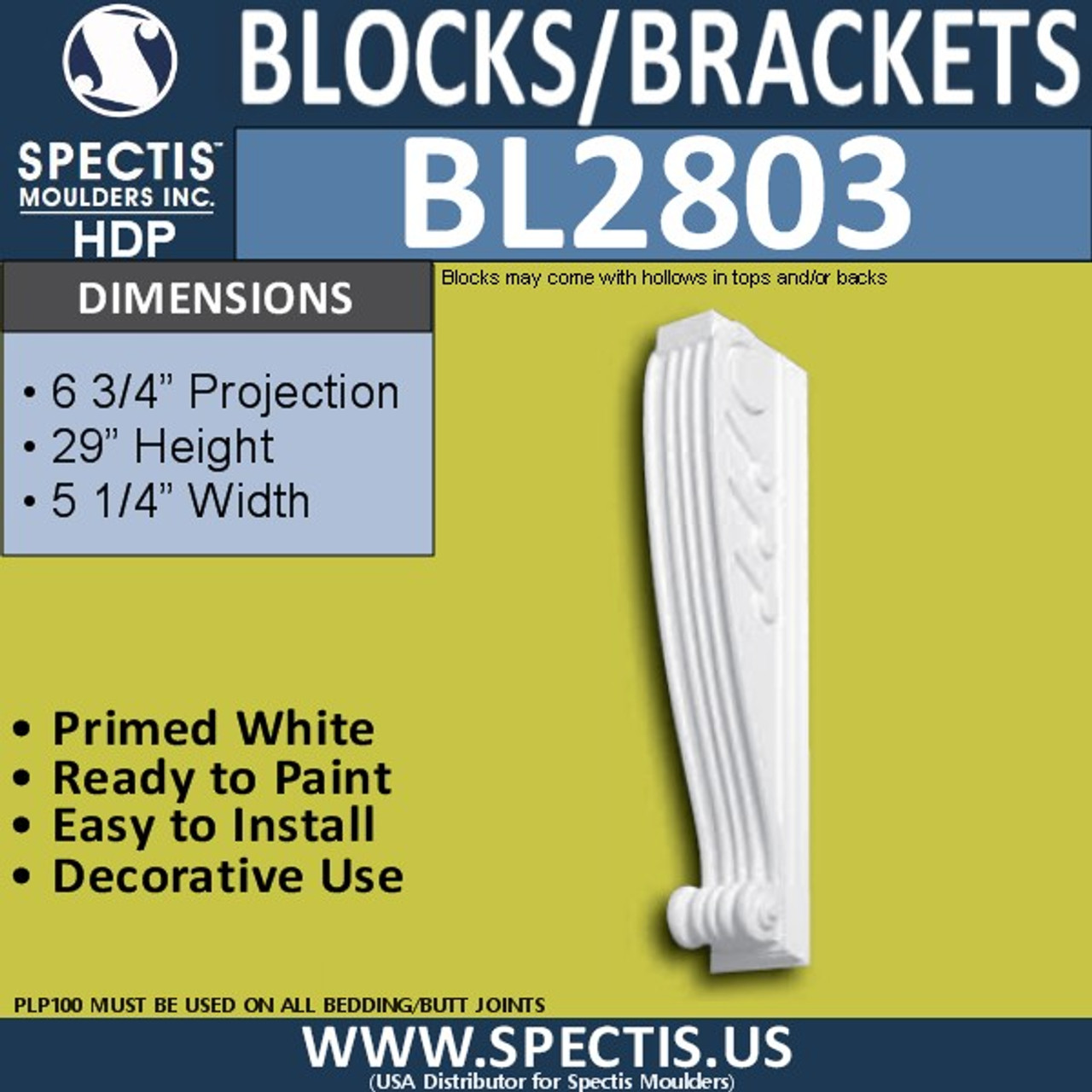 "BL2803 Eave Block or Bracket 4""W x 28""H x 6.5"" P"