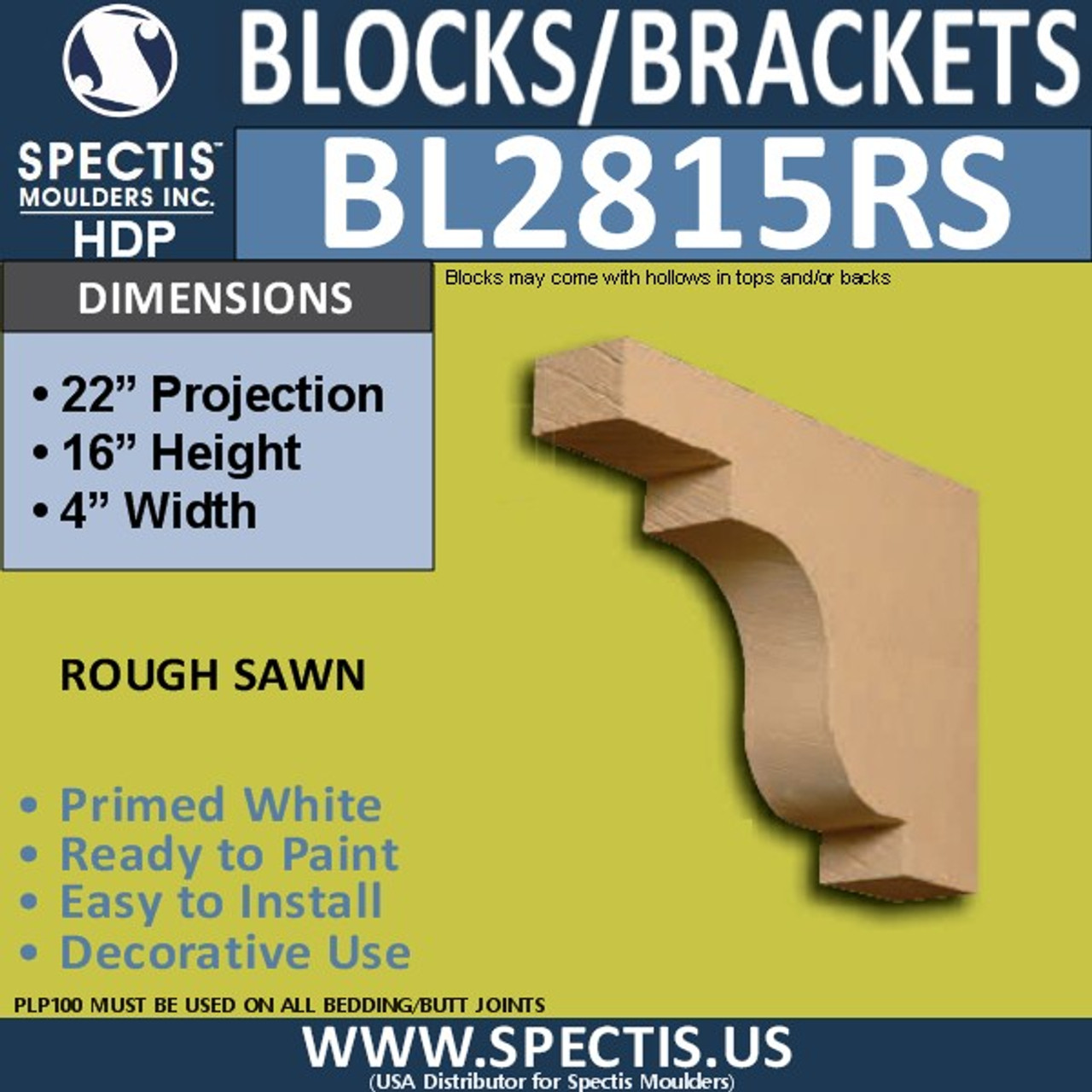 "BL2815RS Rough Sawn Bracket 4""W x 16""H x 22"" P"