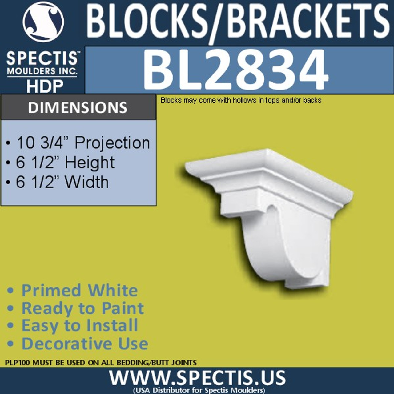 "BL2834 Eave Block or Bracket 6.5""W x 6.5""H x 10.75"" P"