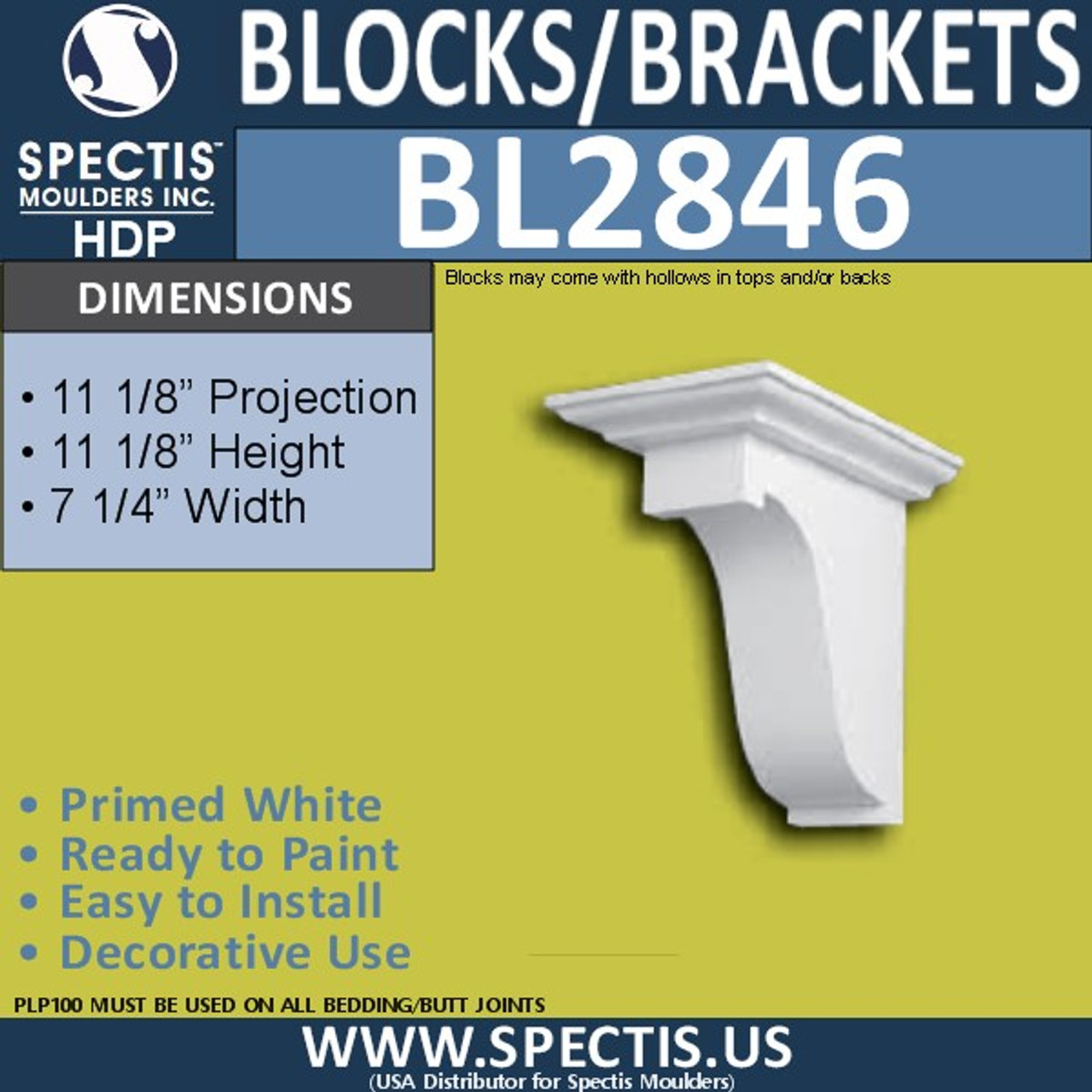 "BL2846 Eave Block or Bracket 7.25""W x 11.25""H x 11.25"" P"