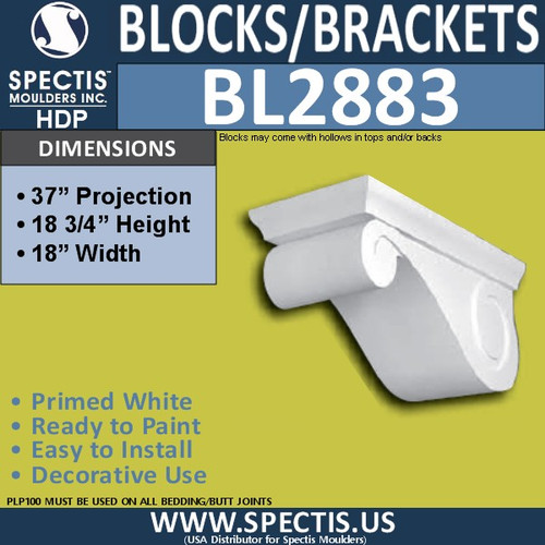 "BL2883 Eave Block or Bracket 18""W x 6.75""H x 37"" P"