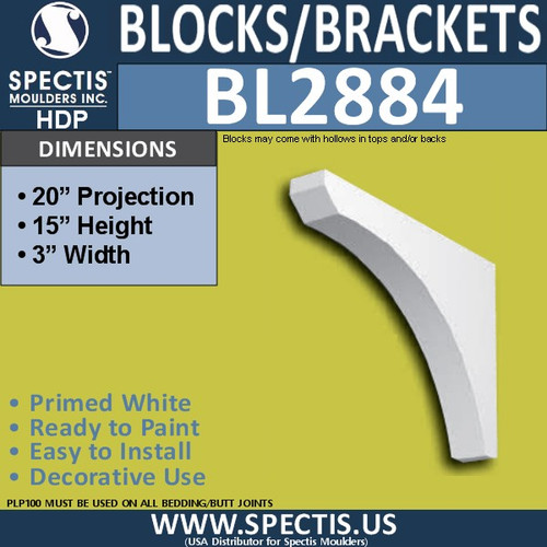 "BL2884 Eave Block or Bracket 3""W x 15""H x 20"" P"
