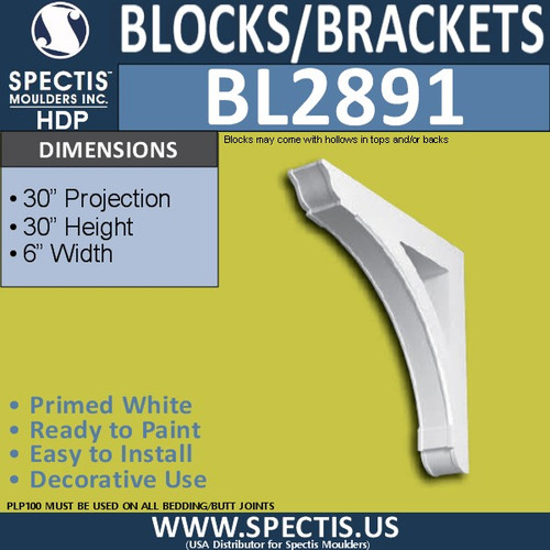 "BL2891 Eave Block or Bracket 6""W x 30""H x 30"" P"