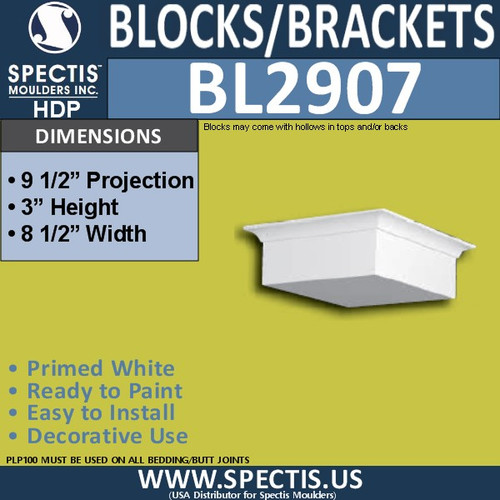 "BL2907 Eave Block or Bracket 8.5""W x 3""H x 9.5"" P"