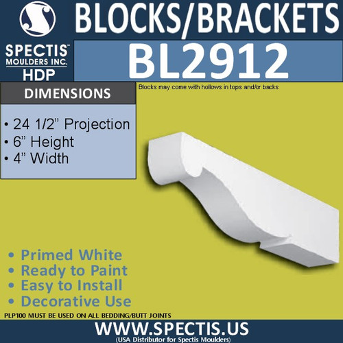 "BL2912 Eave Block or Bracket 4""W x 6""H x 24.5"" P"