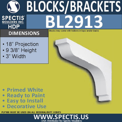 "BL2913 Eave Block or Bracket 3""W x 9.3""H x 18"" P"
