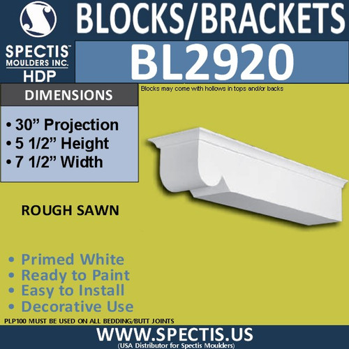 "BL2920 Eave Block or Bracket 7.5""W x 5.5""H x 30"" P"