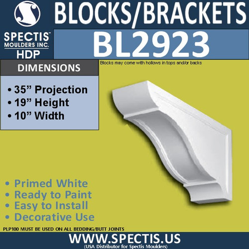 "BL2923 Eave Block or Bracket 10""W x 19""H x 35"" P"