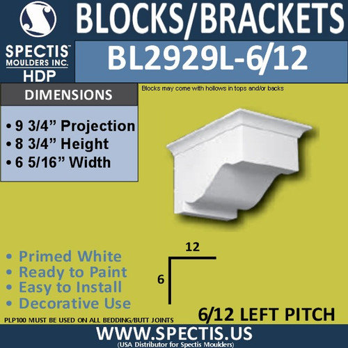 "BL2929L-6/12 Pitch Eave Bracket 6.5""W x 8.75""H x 9.75"" P"