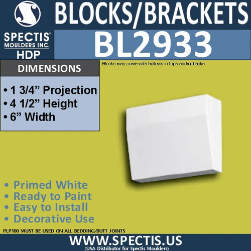 "BL2933 Eave Block or Bracket 6""W x 4.5""H x 1.75"" P"