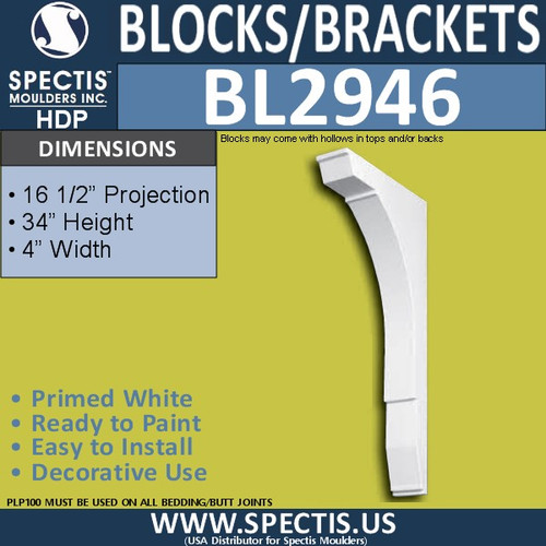 "BL2946 Eave Block or Bracket 4""W x 34""H x 16.5"" P"