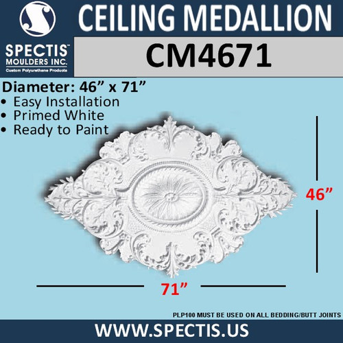 "CM4671 Oval Shape Decorative Ceiling Medallion 46"" x 71"""