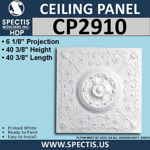 "CP2910 Decorative Urethane Ceiling Panel 40 3/8"" Square"
