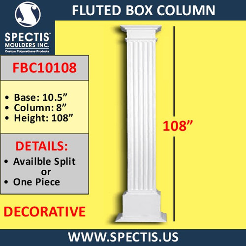 "FBC10108 Fluted Box Column 8"" x 108"""