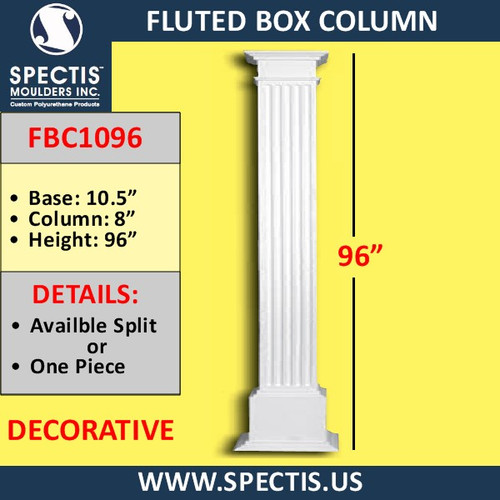 "FBC1096 Fluted Box Column 8"" x 96"""