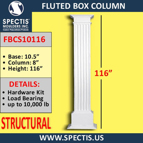 "FBCS10116 Structural Fluted Box Column 10"" x 116"""