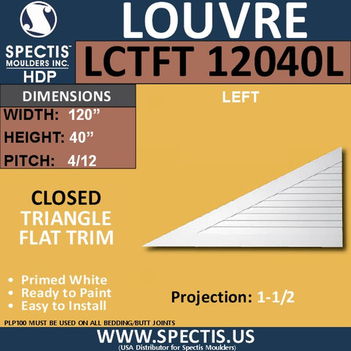LCT12040L Triangle Gable Louver Vent - Closed - 120 x 40 Left
