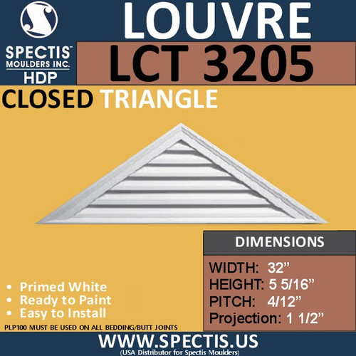 LCT3205 Triangle Gable Louver Vent - Closed - 32 x 5 5/16