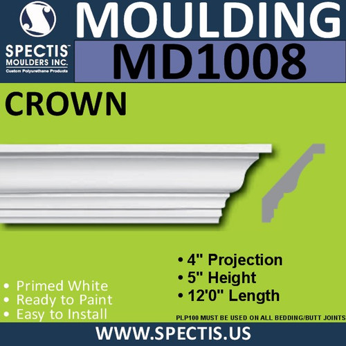 "MD1008 Crown Molding Trim 4""P x 5""H x 144""L"