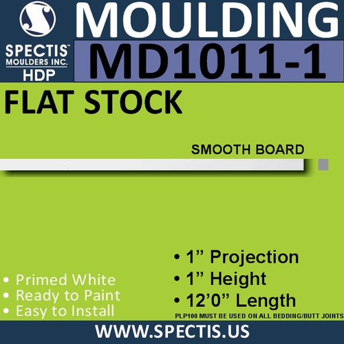 "MD1011-1 Spectis 1"" Flat Trim MD1011-1 - 1""P x 1""H x 144""L"
