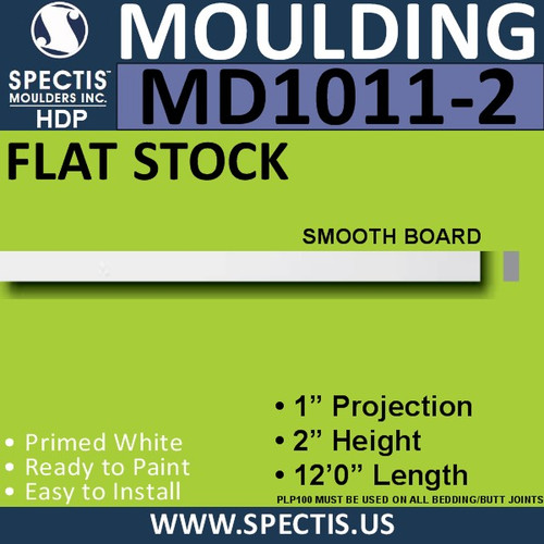 "MD1011-2 Spectis 1"" Flat Trim MD1011-2 - 1""P x 2""H x 144""L"