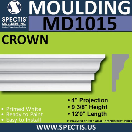 "MD1015 Spectis Crown Molding Trim 4 1/4""P x 9 3/8""H x 144""L"