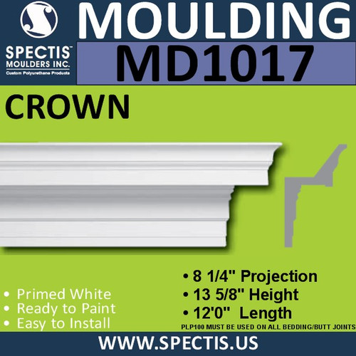 "MD1017 Spectis Boxed Crown Molding Trim 8 1/4""P x 13 5/8""H x 144""L"
