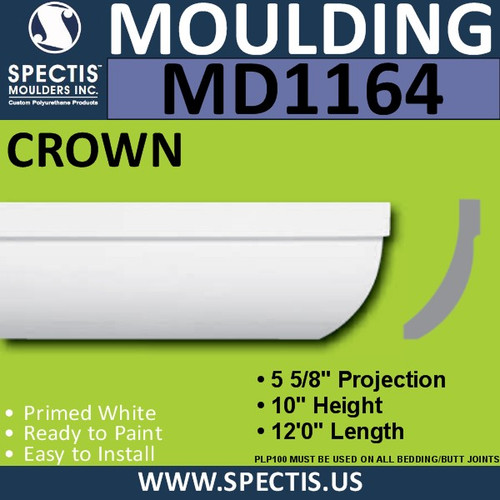 "MD1164 Spectis Crown Molding Trim 5 5/8""P x 10""H x 144""L"