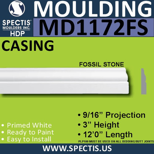 "MD1172FS Spectis Molding Fossil Stone Trim 9/16""P x 3""H x 144""L"