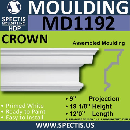 "MD1192 Spectis Crown Molding Trim 9""P x 19 1/8""H x 144""L"
