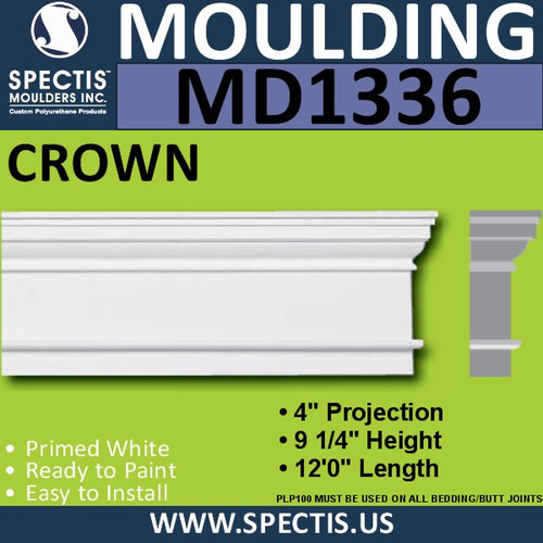 "MD1336 Spectis Molding Head Trim 4""P x 9 1/4""H x 144""L"