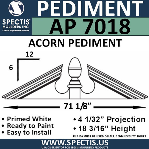 "AP7018 Acorn Pediment for Window/Door 71 1/8"" x 18 13/16"""