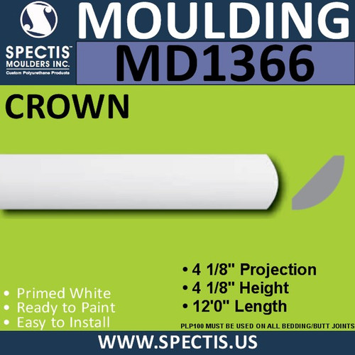 "MD1366 Spectis Crown Molding Trim 5""P x 5""H x 144""L"