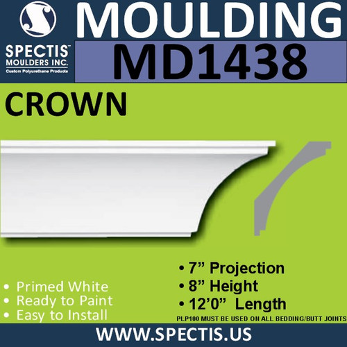 "MD1438 Spectis Crown Molding Trim 7""P x 8""H x 144""L"