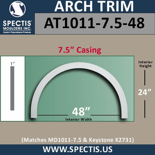 """AT1011-7.5-48 Arch Top Circle 7.5"""" Casing Fits 48"""" Opening"""