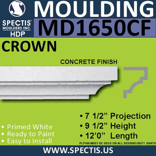 "MD1650CF Spectis Concrete Finish Cap 7 1/2""P x 9 1/2""H x 144""L"