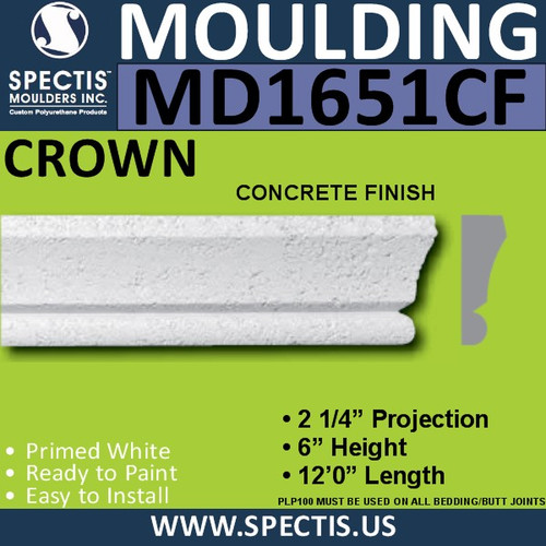 "MD1651CF Spectis Concrete Finish Cap 2 1/4""P x 6""H x 144""L"