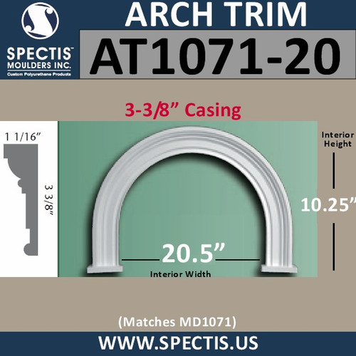 "AT1071-20 Arch Circle Top 3-3/8"" Casing Fits 20.5"" Opening"