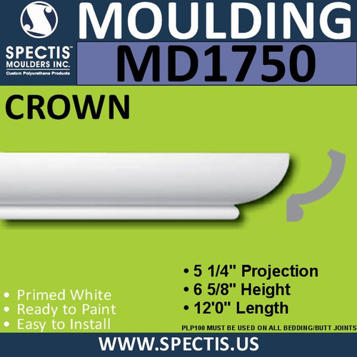 "MD1750 Spectis Crown Molding Trim 5 1/4""P x 6 5/8""H x 144""L"