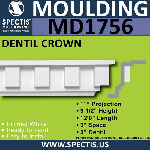 "MD1756 Spectis Crown Molding Dentil Trim 11""P x 9 1/2""H x 144""L"
