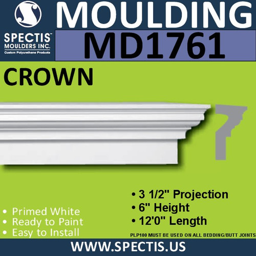 "MD1761 Spectis Crown Molding Trim 3 1/2""P x 6""H x 144""L"