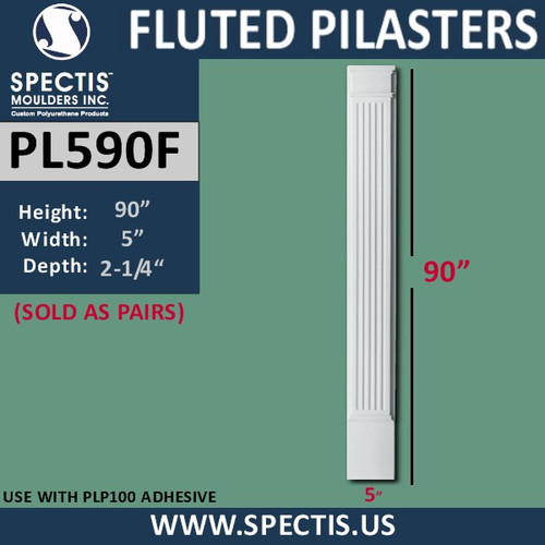 """PL590F Fluted Pilasters from Spectis Urethane 5"""" x 90"""""""