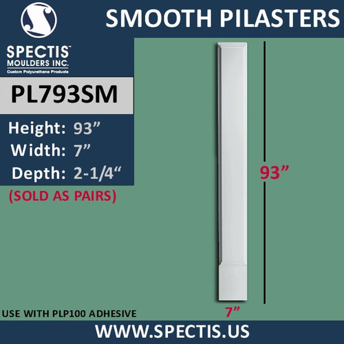 "PL793SM Smooth Panel Pilasters Spectis Urethane 7"" x 93"""