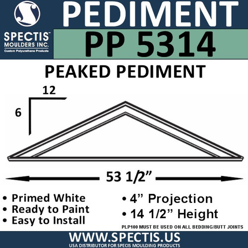 "PP5314 Peaked Pediment for Door 53 1/2"" x 14 1/4"""