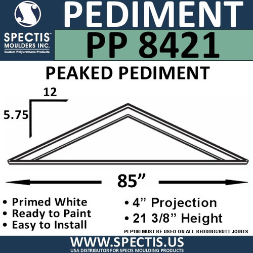 "PP8421 Peaked Pediment for Door 85"" x 21 3/8"""