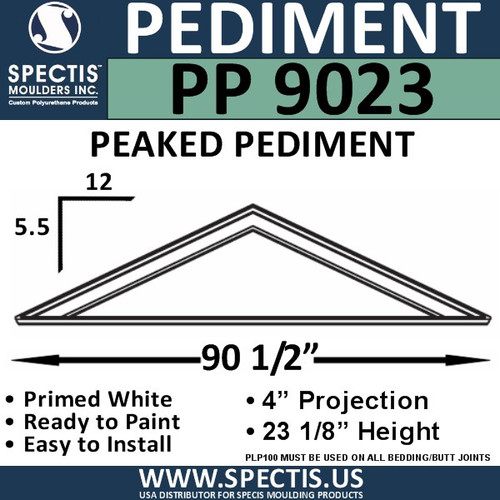 "PP9023 Peaked Pediment for Door 90 1/2"" x 23 1/8"""