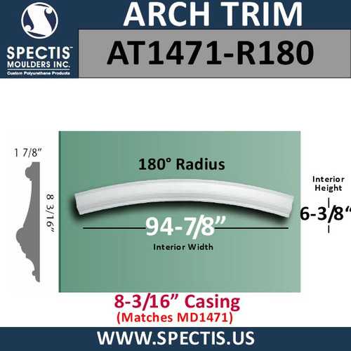 "AT1471-R180 Arch Moulding 8-3/16"" Casing 180 Radius"