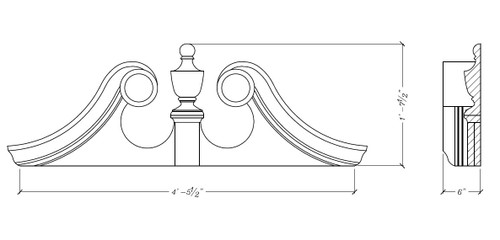 "53 1/2"" x 19 1/2"" Rams Head Pediment RH5319"